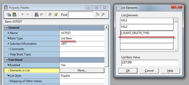 Удаляем элемент из списка Oracle Forms